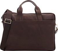 Barneys New York Leather Briefcase Brown