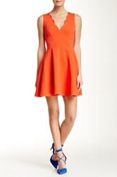 Love...Ady Scalloped V Neck Mini Fit And Flare Dress Red