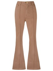 Amapo High Waist Flared Trousers Brown