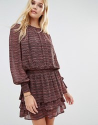 Y.A.S Rush Tiered Skirt Long Sleeve Ruffle Dress Multi