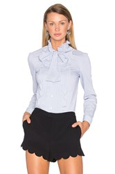 Red Valentino Ruffle Tie Neck Blouse Blue