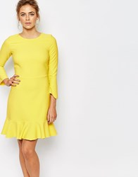 Closet Midi Dress With Frill Hem And 3 4 Sleeves Yellow