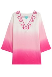 Taj Ombre Silk Tunic With Beading Pink