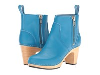 Swedish Hasbeens Zip It Super High New Turquoise Women's Zip Boots Blue