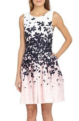 Petite Women's Tahari Floral Jacquard Fit And Flare Dress