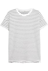 Rag And Bone Distressed Striped Cotton Blend T Shirt White