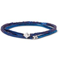 Luis Morais Hematite Bead And White Gold Wrap Bracelet Blue