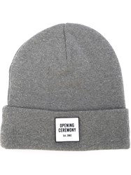 Opening Ceremony Logo Patch Beanie Grey