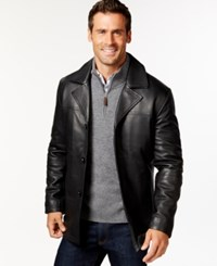 Perry Ellis Big And Tall Button Front Leather Jacket Black