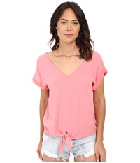 Splendid Rayon Crinkle Gauze Tie Front Shirt Sunkissed Pink Women's Blouse
