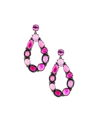 Bavna Open Teardrop Glass Ruby Earrings
