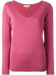 Fay V Neck Knit Jumper Pink And Purple