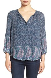 Lucky Brand Women's Paisley Border Print Peasant Blouse