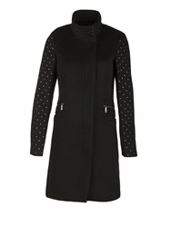 Morgan Wool Mixed Studded Coat Black
