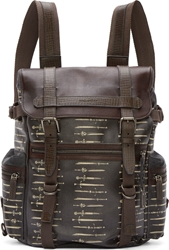 Dolce And Gabbana Brown And Grey Coated Canvas Sword Print Rucksack