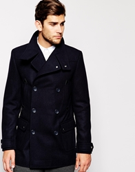 Asos Wool Jacket With Funnel Neck In Navy