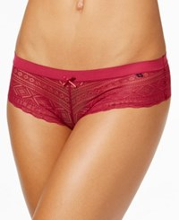 Tommy Hilfiger Heritage Sheer Lace Cheeky Boyshort R14t037 Red Plum