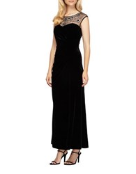Alex Evenings Sleeveless Beaded Illusion A Line Ruched Gown Black