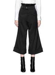 Chictopia Ruffle Trim Foldup Cuff Wool Culottes Black
