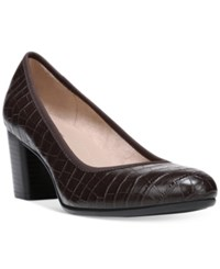 Naturalizer Naomi Block Heel Pumps Women's Shoes Dark Brown