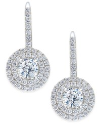 Arabella Swarovski Zirconia Circle Cluster Drop Earrings In Sterling Silver Only At Macy's