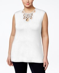 Inc International Concepts Plus Size Cutout Neck Cap Sleeve Top Only At Macy's Bright White