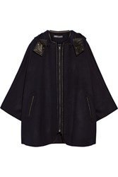 Vince Leather Trimmed Wool Blend Hooded Cape Blue