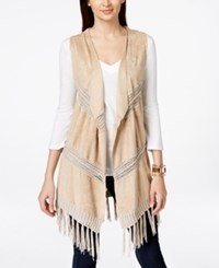 Inc International Concepts Braid Fringe Moleskin Vest Only At Macy's Neutral
