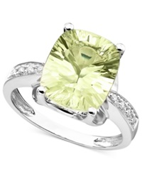 Macy's 14K White Gold Ring Green Quartz 4 3 8 Ct. T.W. And Diamond Accent