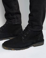 Asos Chukka Boots In Black Suede With Camo Sole Black