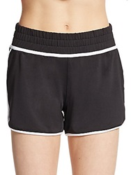Saks Fifth Avenue Blue Stretch Jersey Track Shorts White