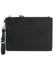 Moschino Embossed Logo Clutch Black