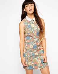 Asos Reclaimed Vintage Collar Dress In Cross Stitch Floral Multi