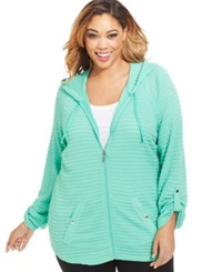 Style And Co. Sport Striped Tab Sleeve Hoodie Mint Glaze