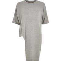 River Island Womens Grey Marl Asymmetric Hem Sweat T Shirt