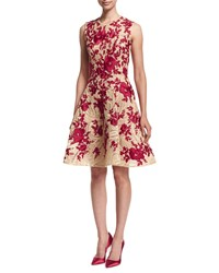 Naeem Khan Embroidered Fit And Flare Dress Natural Red Nat Red