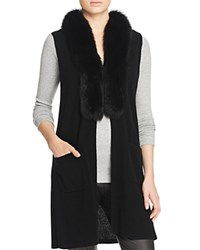 Bloomingdale's C By Fur Trim Cashmere Vest Black