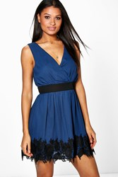 Boohoo Chiffon Wrap Crochet Hem Skater Dress Navy