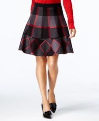 Grace Elements Plaid A Line Sweater Skirt Black Plaid