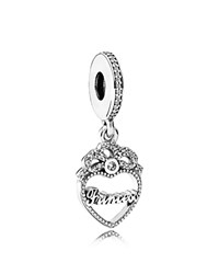 Pandora Design Dangle Charm Sterling Silver And Cubic Zirconia Princess Crown