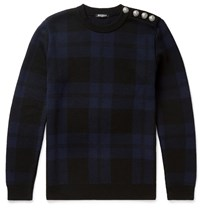 Balmain Slim Fit Checked Merino Wool Sweater Blue