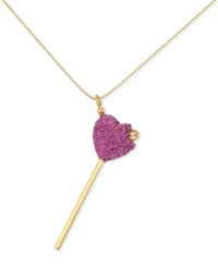 Sis By Simone I Smith Sis By Simone I. Smith Pink Crystal Heart Lollipop Pendant Necklace In 18K Gold Over Sterling Silver Yellow Gold