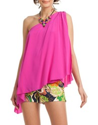 Trina Turk Nimah Silk One Shoulder Top Pink