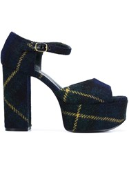 Mulberry Tartan Check Platform Sandals Blue