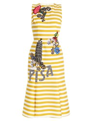 Dolce And Gabbana Pisa Embellished Striped Dress