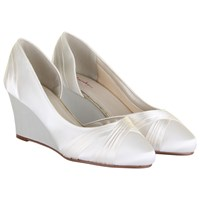 Rainbow Club Tamzin Asymmetric Wedge Heeled Court Shoes Ivory Satin