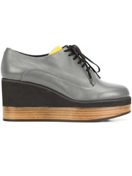 Jil Sander Navy Wedge Lace Up Shoes Grey