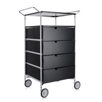 Kartell Mobil 4 Drawer Shelf And Wheels Glossy Smoke