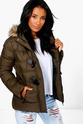 Boohoo Short Quilted Bubble Jacket Olive