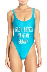 Private Party Women's 'Beach Better Have My Sunny' One Piece Swimsuit Turquoise